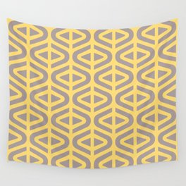 Mid Century Modern Split Triangle Pattern Gray and Yellow Wall Tapestry