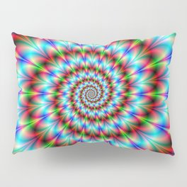 Spiral Rosette in Blue Green and Red Pillow Sham