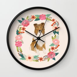 rough collie floral wreath dog breed pet portrait pure breed dog lovers Wall Clock