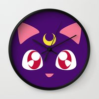 luna Wall Clocks featuring Luna by discojellyfish