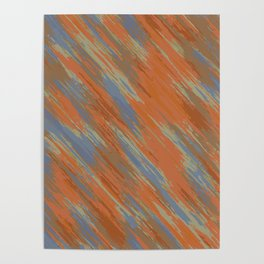 blue orange and brown painting abstract background Poster