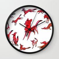 foxes Wall Clocks featuring Foxes by Kit Seaton