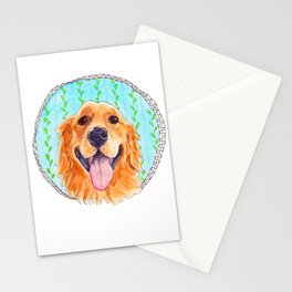 You're Never Fully Dressed without a Smile, Golden Retriever, Whimsical Watercolor Painting, White Stationery Cards