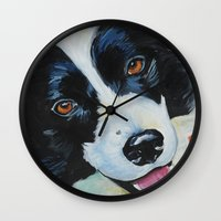 border collie Wall Clocks featuring Border Collie by Melissa Smith Pet Art