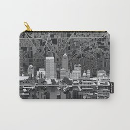 indianapolis city skyline black and white Carry-All Pouch