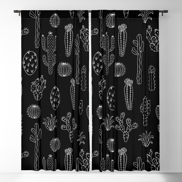 Cactus Silhouette White And Black Blackout Curtain