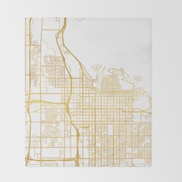 SALT LAKE CITY UTAH CITY STREET MAP ART Throw Blanket