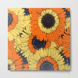 Abstracted Orange Yellow Deco Sunflowers Metal Print
