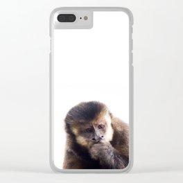 Thinking Capuchin Monkey Clear iPhone Case