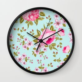 Pink Vintage Flowers Wall Clock