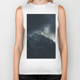 Darkness and storm clouds over mountains Biker Tank