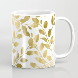 Gold Leaves on White Coffee Mug