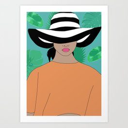 woman with hat c Art Print