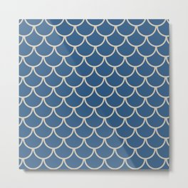 Blue & Beige Fish Scales Pattern Metal Print