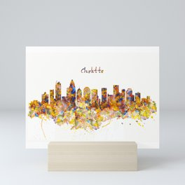 Charlotte Watercolor Skyline Mini Art Print