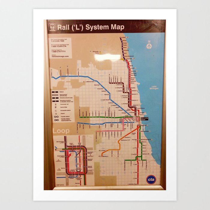 Chicago Subway Map Picture.My Beloved Chicago Cta Map Art Print
