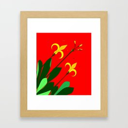 Vintage Flower with Red background Framed Art Print