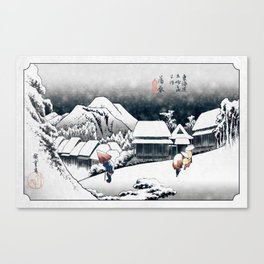 Evening Snow at Kanbara (after Utagawa Hiroshige) Canvas Print
