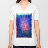 new york map V-neck T-shirts featuring New York map by Bekim ART