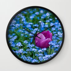 Pink Tulip in the blue Wall Clock