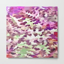 Foliage Abstract Pop Art In Ultra Violet and Fuchsia Pink Metal Print