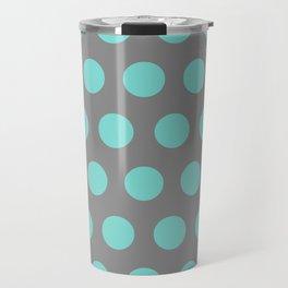 Medium Aqua Dots on Gray Travel Mug