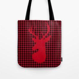 Red Plaid Deer Stag Design Tote Bag