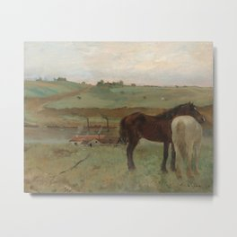 Horses in a Meadow Metal Print
