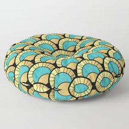 Duck Egg Green Art Deco Fan Pattern Floor Pillow