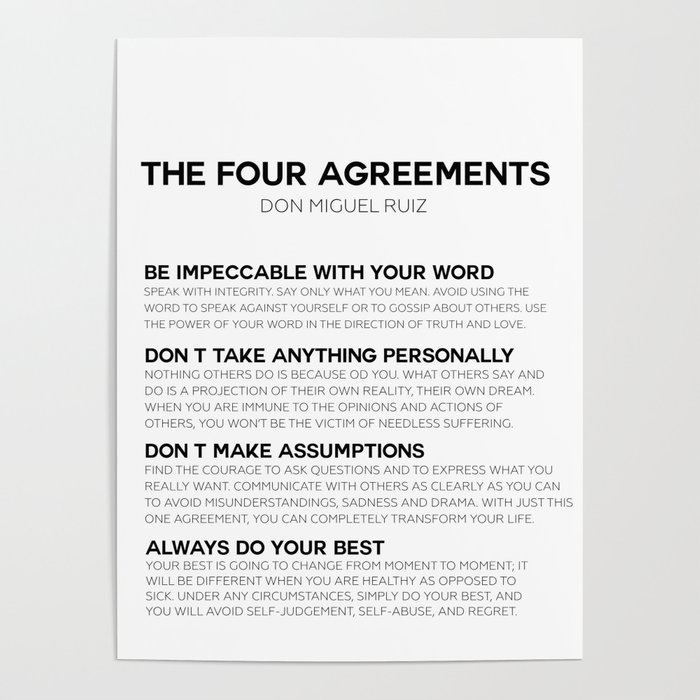 The Four Agreements Poster By Typutopia Society6