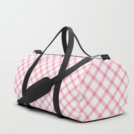 Pink and White Tartan Duffle Bag