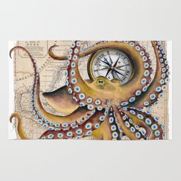 Octopus and Compass Collage Map Rug