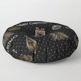 New Year, Christmas design, vintage, retro, black, polka dot Floor Pillow