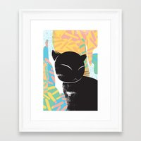 memphis Framed Art Prints featuring Memphis Cat by kelsosullivan