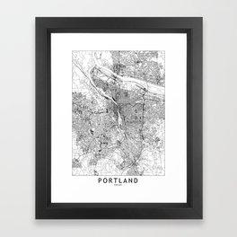 Portland White Map Framed Art Print