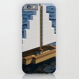 Mine craft boat on the ocean iPhone Case