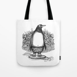 Penguin Dude in his Jammies, Catching some Waves at Local Beach Tote Bag