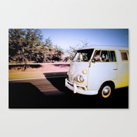 volkswagon Canvas Prints featuring vintage vw van in tucson by robertbuttery