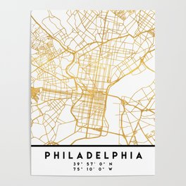 PHILADELPHIA PENNSYLVANIA CITY STREET MAP ART Poster