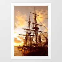 pirate ship Art Prints featuring PIRATE SHIP :) by Teresa Chipperfield Studios