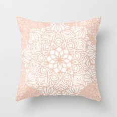 Seashell Mandala Coral Pink and White Throw Pillow