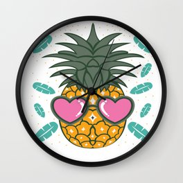 Funny Exotic Pineapple Fruit Summer Sun Beach Gift Wall Clock