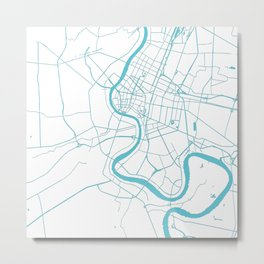 Bangkok Thailand Minimal Street Map - Turquoise and White II Metal Print