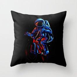 Dirt Bike Astronaut Throw Pillow
