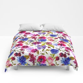 Magenta pink navy blue lilac watercolor floral Comforters