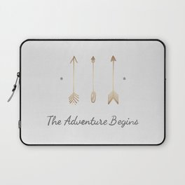 The Adventure Begins Quote Laptop Sleeve