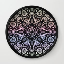 Coloring on the dark bacground hand drawn mandala Wall Clock