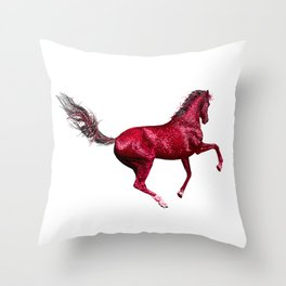 Happy Horse in Red Throw Pillow
