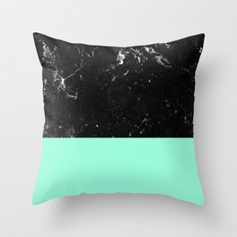 Mint Meets Black Marble #1 #decor #art #society6 Throw Pillow