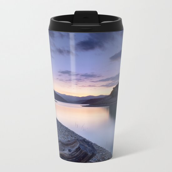 """Mountain light"". Blue sunset II. Metal Travel Mug"